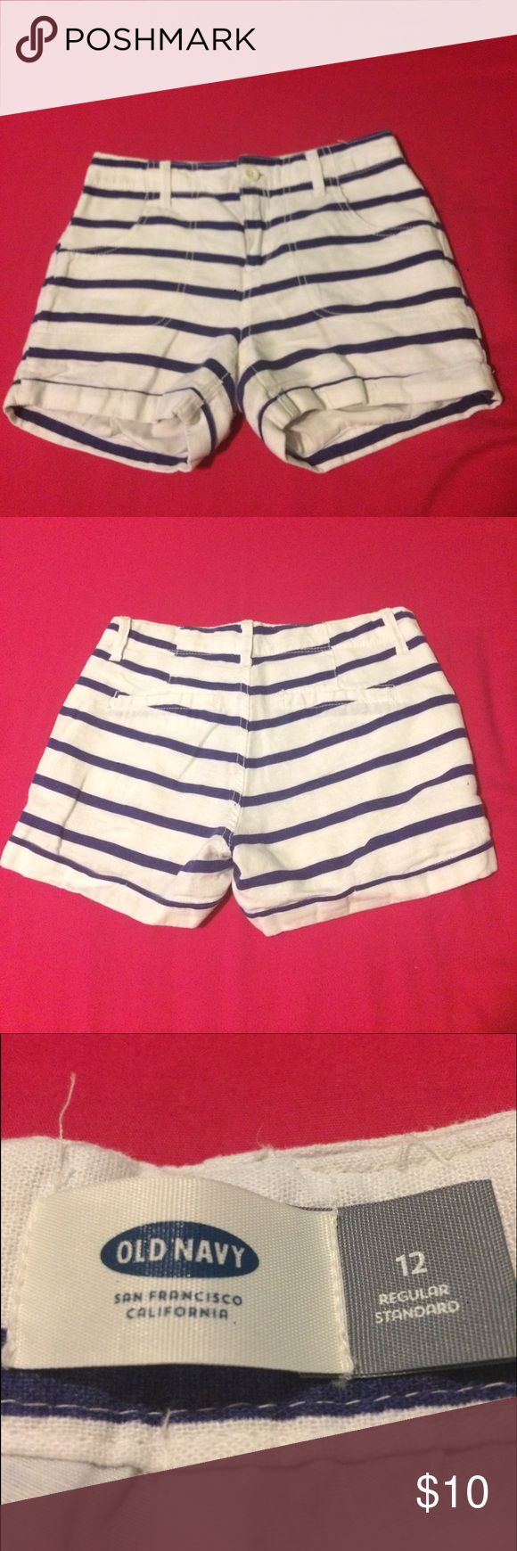 Cute summer blue and white shorts These cute summer shorts are perfect for the pool or beach. White with blue strips. They have front pockets and fake back pockets. They are a girls size 12 regular. The waist is adjustable. Old Navy Bottoms Shorts