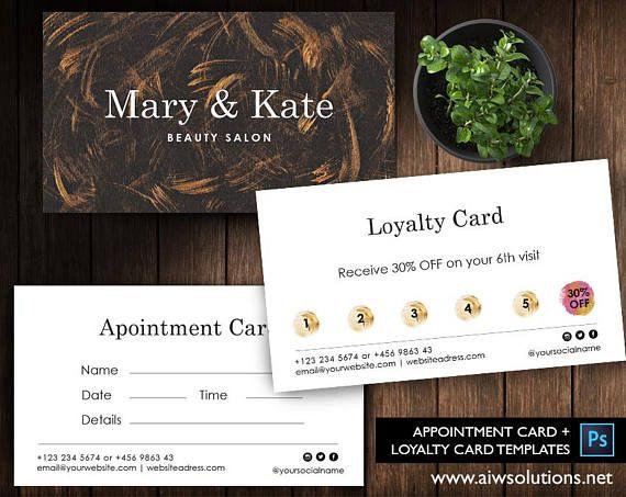 Free Coffee Card Template Free Salon Loyalty Business Card Etsy Customer Card Business Card Template Design Card Template