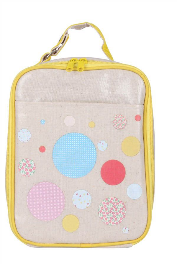 Apple and Mint-Kids Lunch Bags-Yellow Polkadot Lunch Bag