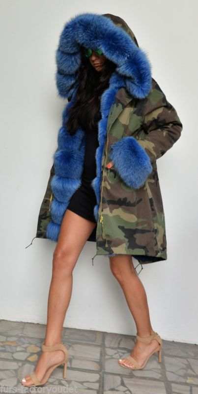 army camo parka lined in blue fox fur
