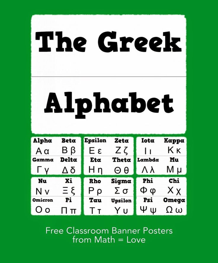Math = Love Free Greek Alphabet Banner Poster things to