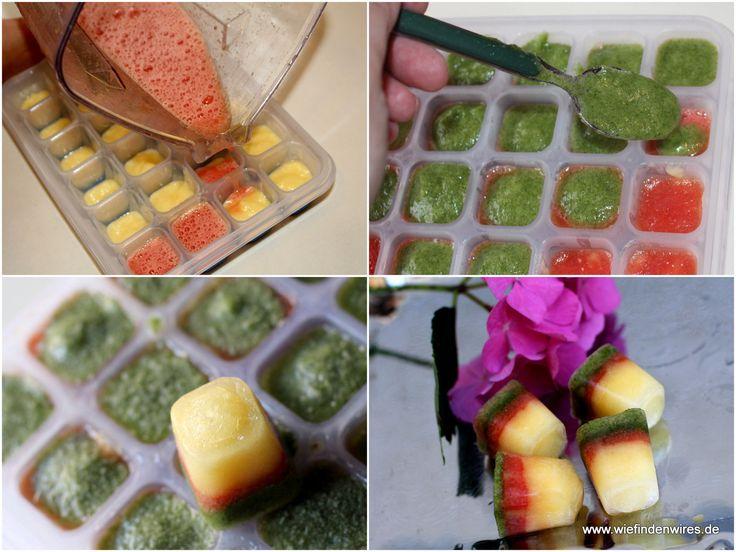 Bunte Eiswürfel aus Ananas, Melone und Zitronenmelisse. Obst und Kräuter einzeln im Standmixer zu Mus verarbeitet (der Zitronenmelisse habe ich dabei etwas Ananassaft zugegegeben) und dann in der Emsa Eiswürfelform schichtweise eingefroren. Schmeckt mit Mineralwasser, im Sekt oder man leckt es als Eis. Kann auch als Vorrat für Smoothies aufbewahrt werden. - https://produkttest.emsa.com/?view=social&type=reply&id=245506