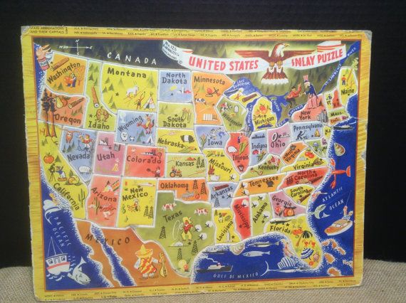 Mid Century United States Inlay Puzzle AMWalzer Co by FlyingFigs, $16.50