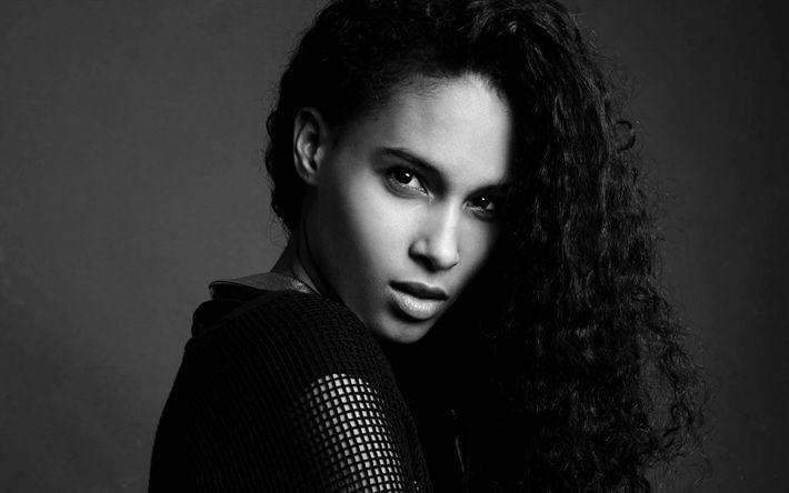 Download wallpapers Cindy Bruna, fashion model, French top model, portrait, monochrome, brunette