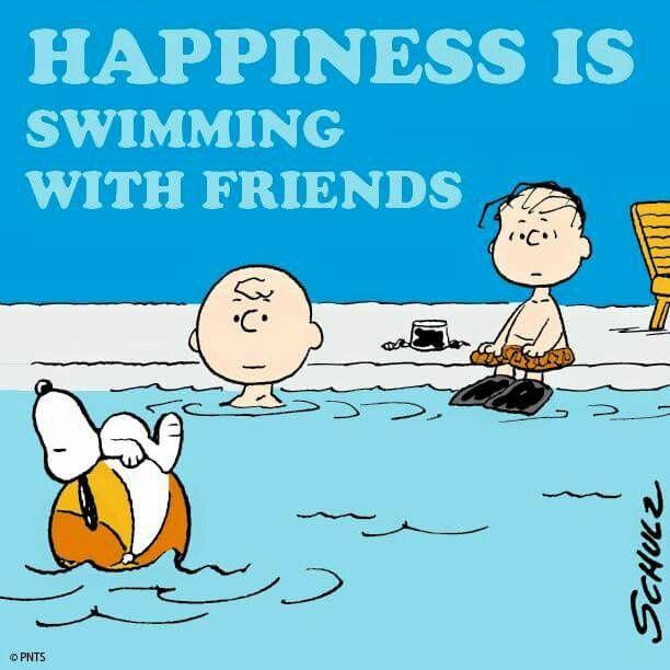 La felicidad es nadar con los amigos snoopy recuerdos - Woodstock swimming pool opening hours ...