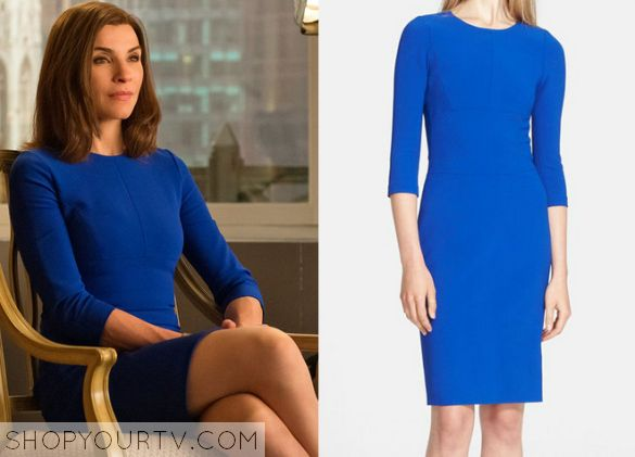The Good Wife: Season 6 Episode 18 Alicia's Blue Scuba Dress. I think we all know I would totally wear this dress.