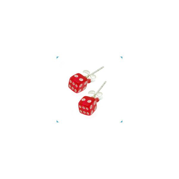 Earrings Dice Red ($3.08) ❤ liked on Polyvore featuring jewelry, earrings, red, body jewelry, red jewelry, earrings body jewelry, body jewellery and red earrings