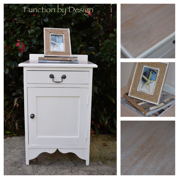 This beautiful bedside table has been given a very coastal make over. It has lovely traditional features, which have been freshened up with a warm white paint colour and the original timber top has been sealed with white wax to give it a beach/coastal vibe. Overall the piece has a very fresh calming feel to it. #hamptons #hamptonsstyle #beach #coastal #bedsidetable #handpainted #paintedfurniture #whitewax #functionbydesign