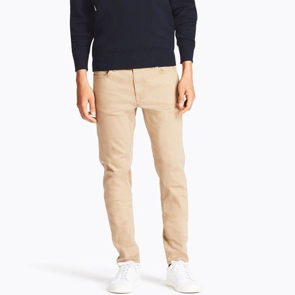 UNIQLO Men's Stretch Skinny-fit Color Jeans ($40) ❤ liked on Polyvore featuring men's fashion, men's clothing, men's jeans, beige, mens stretch skinny jeans, mens jeans, mens super skinny stretch jeans, mens skinny jeans and mens stretchy jeans