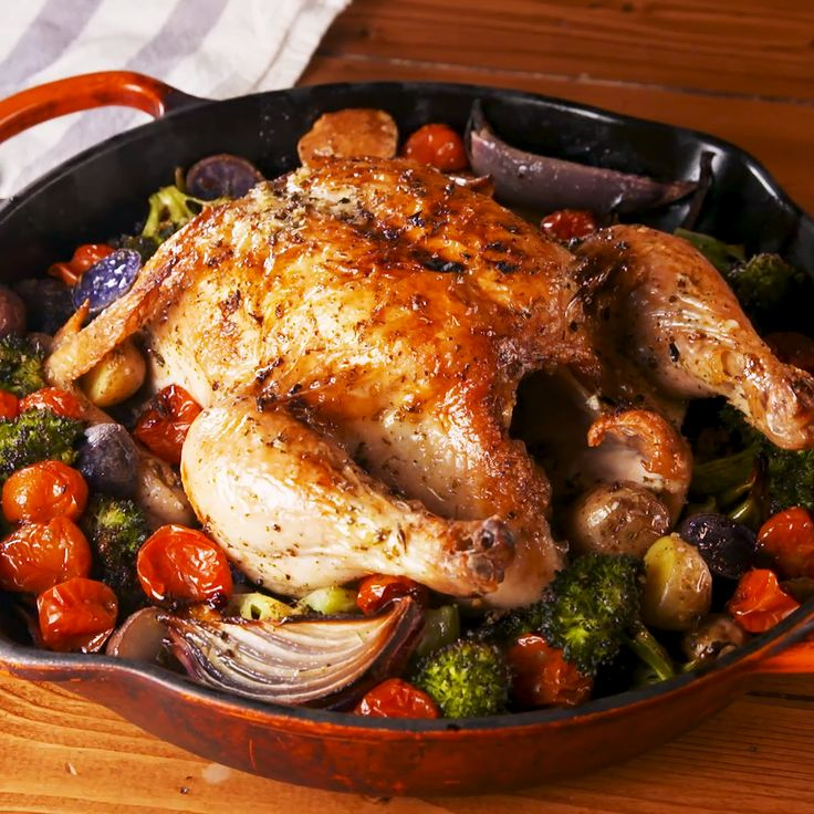 Roasted chickens are the perfect Sunday supper. Season the chicken well, in this case with the most amazing Tuscan butter, and throw whatever vegetables you have around it and you've set yourself up for a week's worth of meals. Use your leftovers in a chicken salad sandwich or even turn it into chicken noodle soup! Get the recipe at Delish.com. #delish #easy #recipe #tuscanbutter #roastchicken #chicken #chickenrecipe #whole #oven #andvegetables #crispy