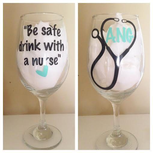 Custom Nurse Wine Glass by BOWtifulMonogram on Etsy