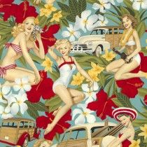 Aloha Girls Vintage Blue by Alexander Henry