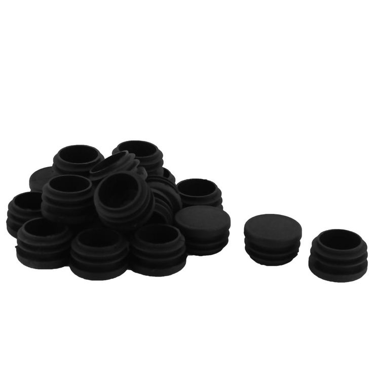 Plastic Round Shaped Desk Table Chair Floor Protector Tube Insert Black 20 Pcs
