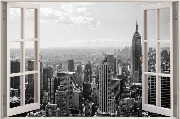 Huge 3d window new york city view wall stickers mural film for Black and white new york mural wallpaper