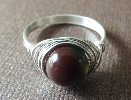 Indian Agate ring  wire wrap ring  red Agate by PepperandPomme