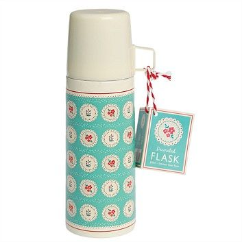 Tea & Coffee Accessories - Living & Giving - Vintage Doily Flask Blue