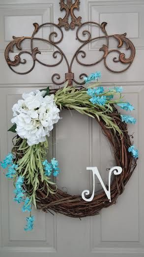 Year Round Wreath, Hydrangea Wreath, Spring Wreath, Summer Wreath, Winter Wreath, Door Wreath, Monogram Wreath
