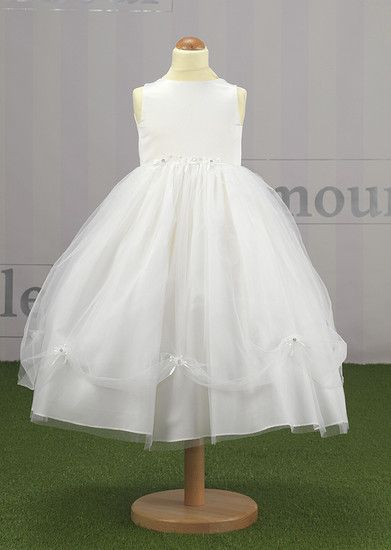 FL604|Flower Girl Dress with Princess Style Caught Up Tulle Skirt