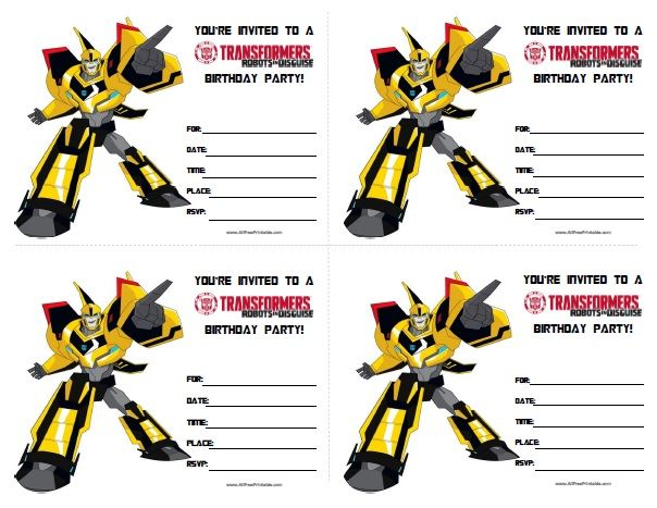 free printable transformers birthday invitations transformer in
