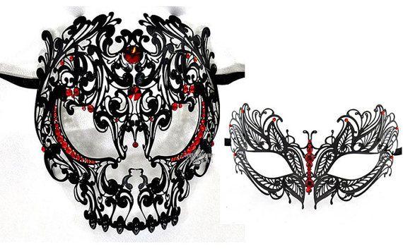 Suo & Hers Masquerade coppie maschere veneziane  nero 2 di Yacanna
