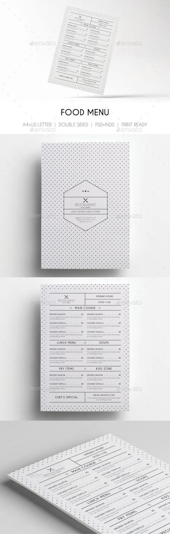 Minimal Menu Template - Food Menus Print Templates                                                                                                                                                                                 More