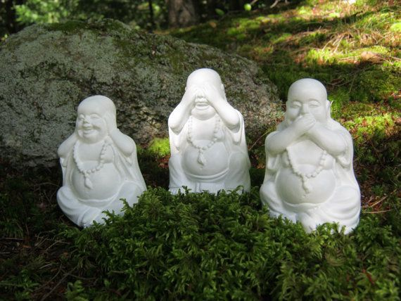 Buddha Statues Three Laughing Buddha Figures by WestWindHomeGarden on Etsy - Cherie