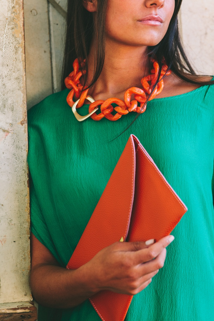 Lola & Syd Orange + Gold Link Necklace and Orange Classic Envelope Clutch
