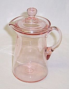 Elegant Glass Pink SYRUP or GUEST PITCHER with LID