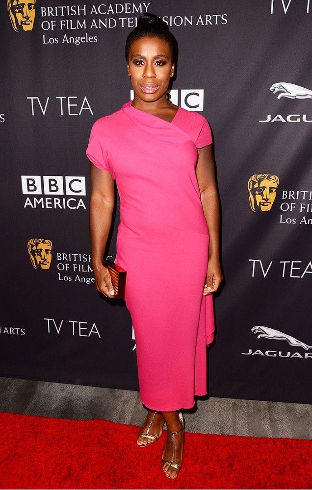 Uzo Aduba in a totally feminine pink dress