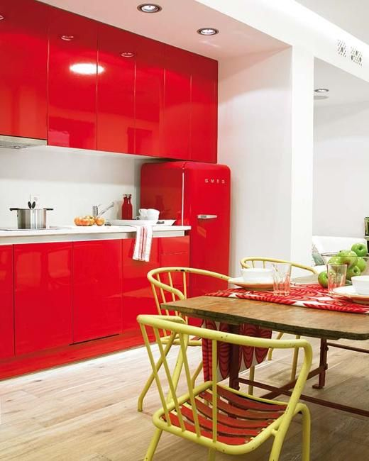 Exciting Red Kitchens White Cabinets