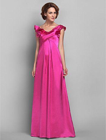 kılıf / sütun off-the-omuz yere kadar uzanan saten ve gelin elbise şifon anne (618.838) - USD $ 179.99