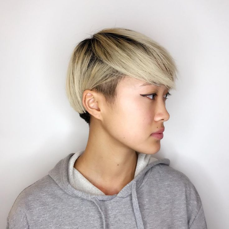 Creative pixie cut by me! #haircut#pictures#wednesday#classday#creative#picie#blonde#contrast#cute#asian#girl#arrojonyc#arrojosoho