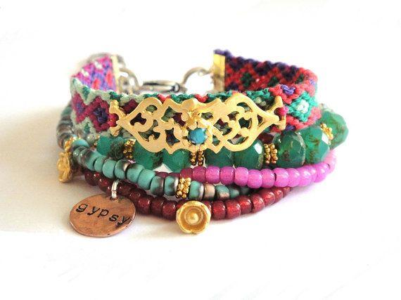 OOAKjewelz Multiple strands beaded gypsy bracelet
