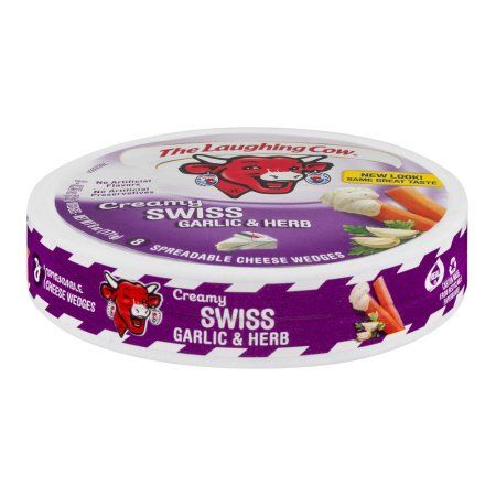 The Laughing Cow Spreadable Cheese Wedges Creamy Swiss Garlic & Herb - 8 CT