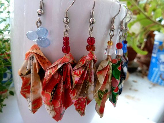 Origami Leaf earrings Dangle earrings Washi Leaf by MarysaArt