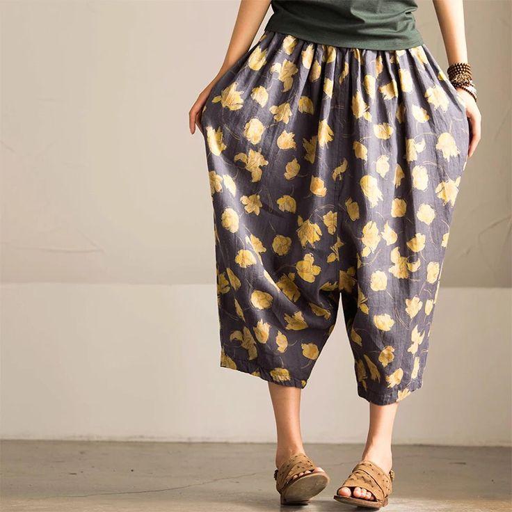 Blue flower cotton linen women trousers fashion loose clothes