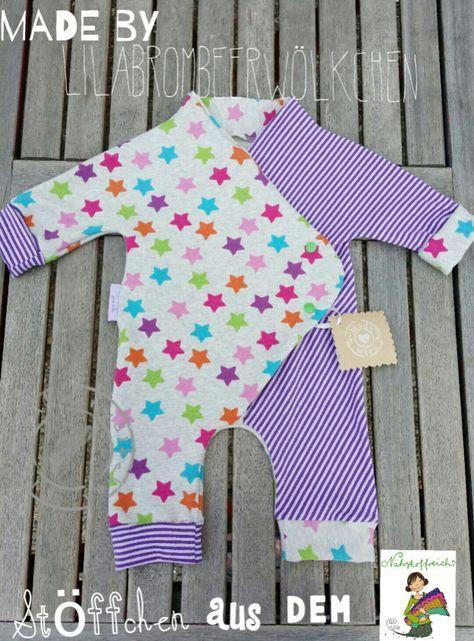 Baby Jumpsuit mit schritt für schritt Bildanleitung und link zu gratis Schnitt