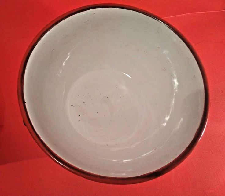 Old Vintage White Blue Porcelain Enamel Metal Round Shape Bowl from India 1950
