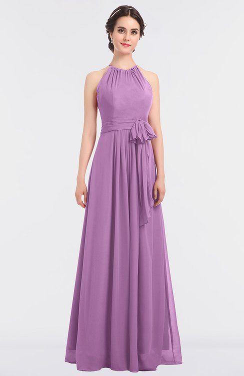 Orchid Classic Halter Sleeveless Zip up Floor Length Flower Bridesmaid Dresses