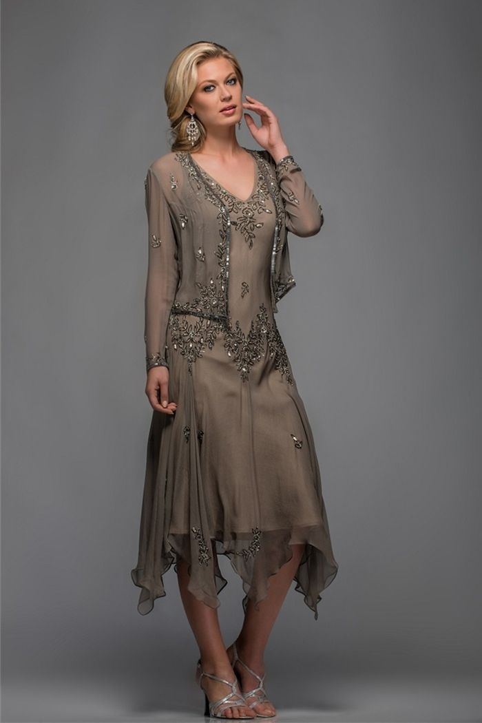 Cheap dresses casual, Buy Quality tea length mother of the groom dress directly from China tea length cotton dress Suppliers: Olive green beaded pattern V-neck handkerchief women outfit plus size chiffon tea length mother of the bride dresses wit