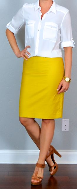 White Blouse and Pencil Skirt. Could mix and match the ...