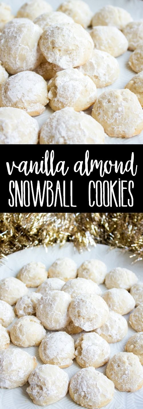 5-Ingredient Vanilla Almond Snowball Cookies are an easy holiday cookie that's a favorite at Christmas time! Make a double batch and share with friends! via @breadboozebacon