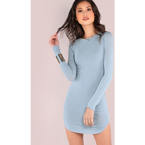 Long Sleeve Curved Hem Bodycon Dress LIGHT BLUE ($15) ❤ liked on Polyvore featuring dresses, blue, strappy dress, longsleeve dress, strappy bodycon dress, blue long sleeve dress and light blue dress