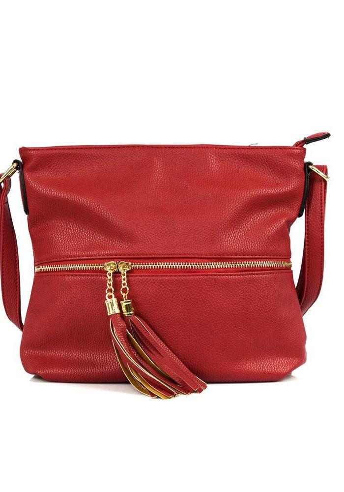 Τσάντα τετράγωνη ώμου. Η τσάντα κλείνει με φερμουάρ. Μπροστά έχει τσέπη με φερμουάρ και διακοσμητικά φουντάκια και πίσω τσέπη που κλείνει με φερμουάρ. Είναι μία τσάντα που κρατιέται όλες τις ώρες.  SYNTHETIC 100%
