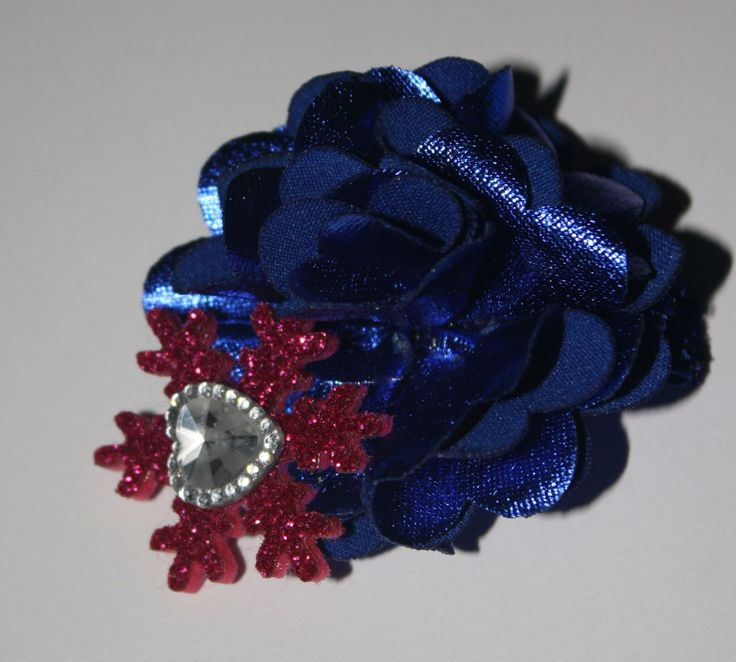Cobalt Metallic Blue Satin Flower w/ a Hot Pink Glitter Snowflake and Crystal Heart Accent Boutique Hair Clip by DivineDesignsXDecor on Etsy https://www.etsy.com/listing/481113508/cobalt-metallic-blue-satin-flower-w-a