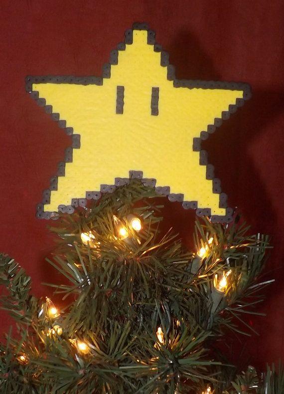 Retro Super Mario Bros Christmas Tree star topper. Hand made! Great gamer gift