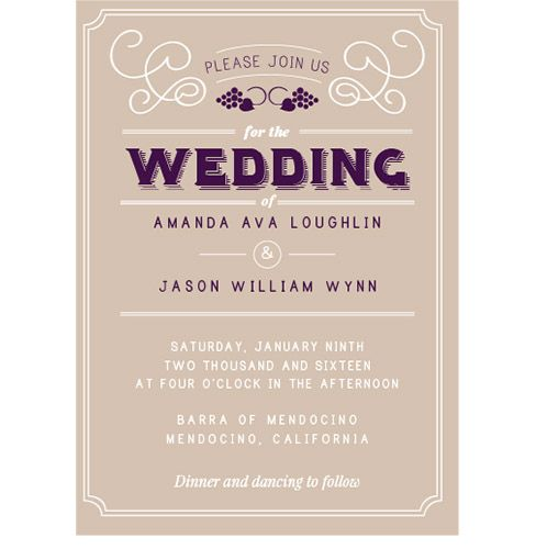 Vintage Vineyard Wedding Invitation For A Wine Themed Or Winery Wedding