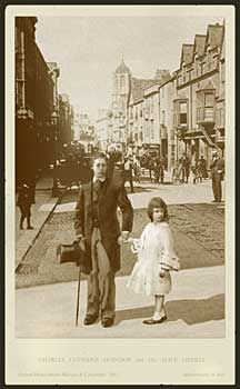 Fantasy photo of Lewis Carroll and Alice Liddell taking a stroll in Oxford.