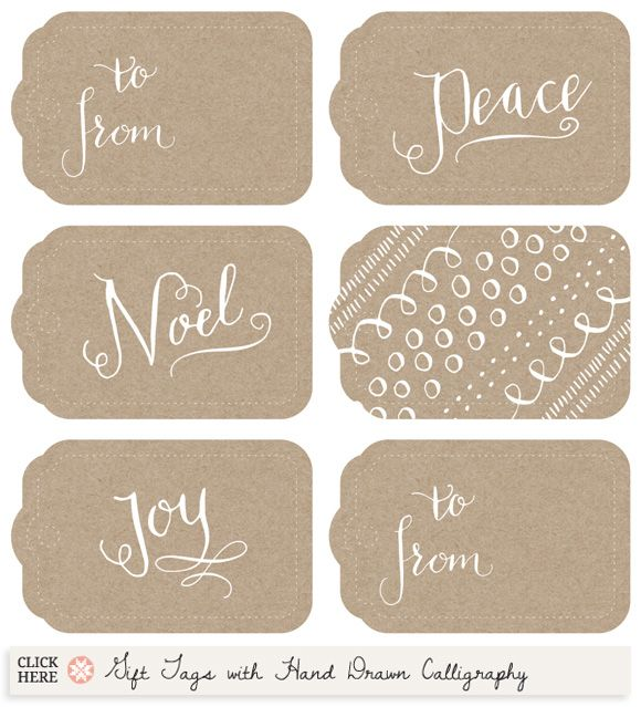 Printable Gift Tags with Hand Drawn Calligraphy from Muffin Grayson, via CreatureComfortsBlog