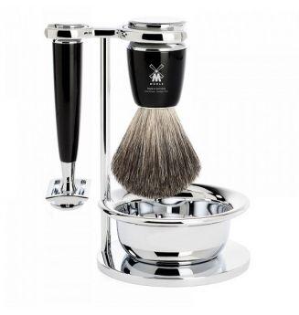 Dárková sada holicího strojku na žiletky, štětky na holení, pochromované misky a stojánku. http://www.luxusni-holeni.cz/detail/muehle/sady-na-holeni/muehle-rytmo-black-pure-badger-4-dilna/
